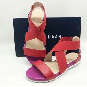 Cole Haan Flat Sandal size 8 B Red Leather New